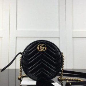 NWT GUCCI Black GG Marmont mini Round shoulder bag